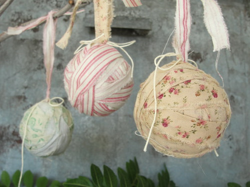 vintage ribbon wrapped ornaments