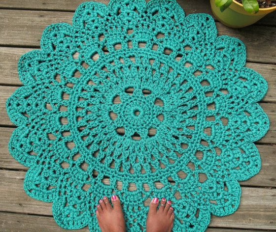 turquoise doily rug