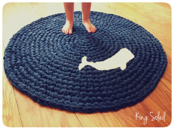 whale applique rug