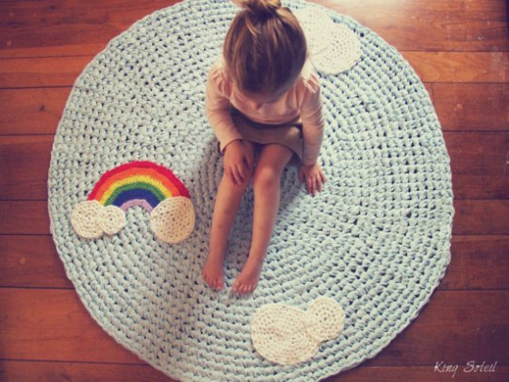 rainbow applique rug